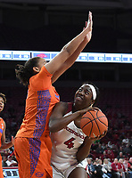 Arkansas' Erynn Barnum looks to shoot the ball while Florida's Emanuely De Oliveira defends Sunday Jan. 26, 2020 at Bud Walton Arena. Arkansas won 79-57 and play again on the road Thursday at Alabama. See nwaonline.com/uabball/ for a gallery of images from the game. (NWA Democrat-Gazette/J.T. Wampler)