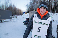 Andrew Nolan portrait at the start of the 2016 Junior Iditarod Sled Dog Race on Willow Lake  in Willow, AK February 27, 2016