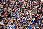 9th September 2017, Ibrox Park, Glasgow, Scotland; Scottish Premier League football, Rangers versus Dundee; Rangers fans shield their eyes from the sun