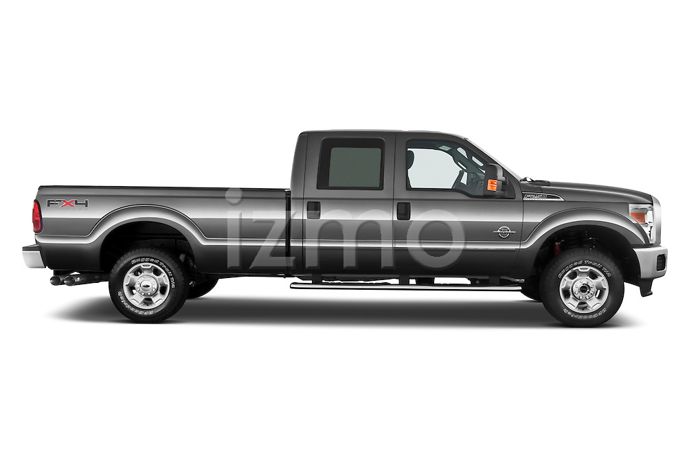 Passenger side profile view of a 2011 Ford F-250 Crew Cab 4x4.