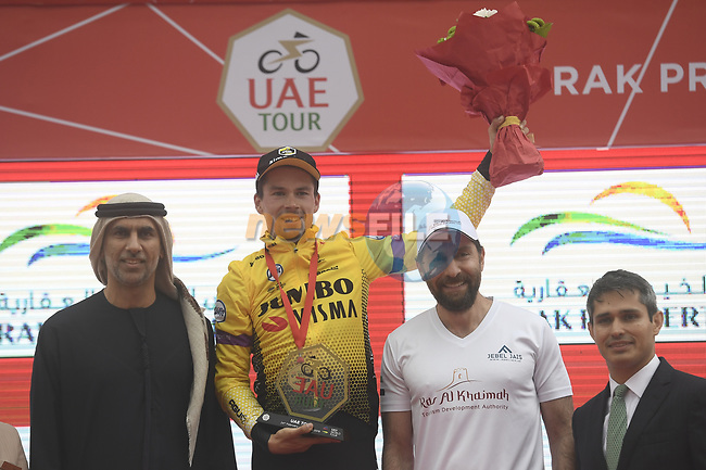 Race leader Primoz Roglic (SLO) Team Jumbo-Visma wins Stage 6 of the 2019 UAE Tour, running 175km form Ajman to Jebel Jais, Dubai, United Arab Emirates. 1st March 2019.<br /> Picture: LaPresse/Fabio Ferrari | Cyclefile<br /> <br /> <br /> All photos usage must carry mandatory copyright credit (© Cyclefile | LaPresse/Fabio Ferrari)