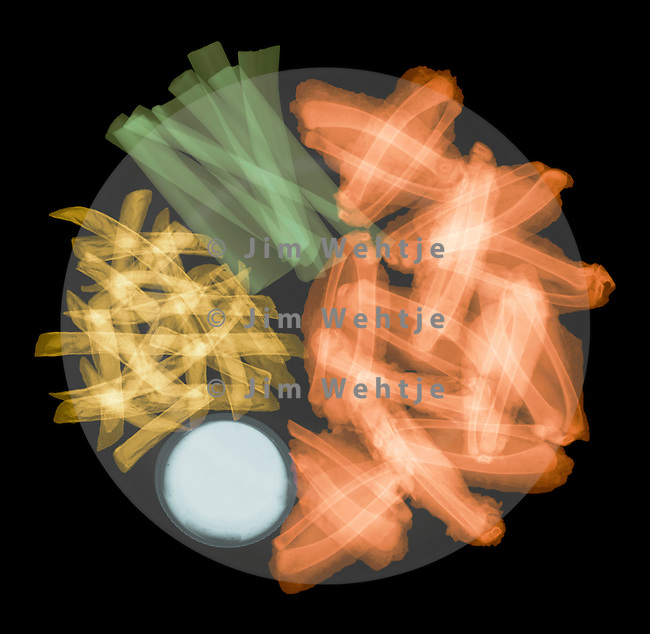X-ray image of a plate with chicken wings (color on black) by Jim Wehtje, specialist in x-ray art and design images.