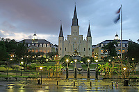 Rainy evening lighting St. Louis Cathedral at Jackson Square French Quarter New Orleans Louisiana