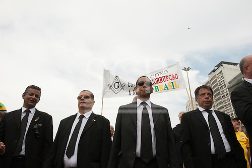 Freemasons from a local lodge march in protest against the corruption of the government of Dilma Rousseff. Rio de Janeiro, Brazil, 15th March 2015.
