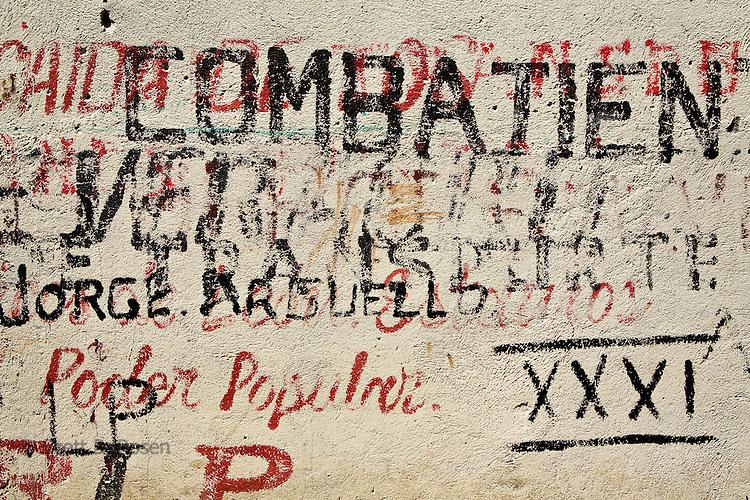Sandinista (FSLN) grafitti and words inside the Museum of the Revolution, Leon, Nicaragua