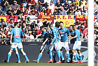 Football, Serie A: AS Roma - SSC Napoli, Olympic stadium, Rome, March 31, 2019. <br /> Napoli's Arkadiusz Milik celebrates after scoring with his teammates during the Italian Serie A football match between Roma and Napoli at Olympic stadium in Rome, on March 31, 2019.<br /> UPDATE IMAGES PRESS/Isabella Bonotto