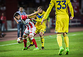 14th September 2017, Red Star Stadium, Belgrade, Serbia; UEFA Europa League Group stage, Red Star Belgrade versus BATE; Midfielder Slavoljub Srnic of Red Star Belgrade fights to keep the ball