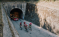 Thomas de Gendt (BEL/Lotto-Soudal), Thomas Scully (NZL/EducationFirst-Drapac), Michael Sch&auml;r (SUI/BMC) &amp; Dimitri Claeys (BEL/Cofidis)  forming the breakaway group of today's stage<br /> <br /> Stage 13: Bourg d'Oisans &gt; Valence (169km)<br /> <br /> 105th Tour de France 2018<br /> &copy;kramon