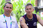 Swim coaches Brendan Keogh and Brendan Burkett share a moment's relaxation in the Paralympic Village.