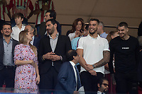 Jorge Garbajosa and his wife Alejandra Dominguez  with willy Hernangomez and Juancho Hernangomez during the Atletico de Madrid against Juventus Uefa Champions League football match at Wanda Metropolitano stadium in Madrid on September 18, 2019.
