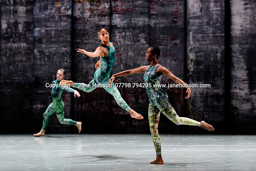 Rambert presents RAMBERT EVENT, by Merce Cunningham, at Sadler's Wells. Choreography by Merce Cunningham, staging by Jeannie Steele, Music by Philip Selway, Quinta and Adem Ilhan, designs inspired by Gerhard Richter's 'Cage' series, performed by Rambert. The dancers are: Daniel Davidson, Jacob Wye, Kym Sojourna