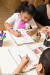 Education Preschool 3-4 year olds art activity drawing with markers boy and girl sitting across from each other boy using left hand girl using right hand