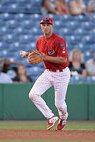 Clearwater Threshers third baseman Mitch Walding (10) throws to first for the out during a game against the Tampa Yankees on April 21, 2015 at Bright House Field in Clearwater, Florida.  Clearwater defeated Tampa 3-0.  (Mike Janes/Four Seam Images)