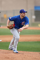John Gaub #54 of the Chicago Cubs participates in pitchers fielding practice during spring training workouts at the Cubs complex on February 19, 2011  in Mesa, Arizona. .Photo by Bill Mitchell / Four Seam Images.