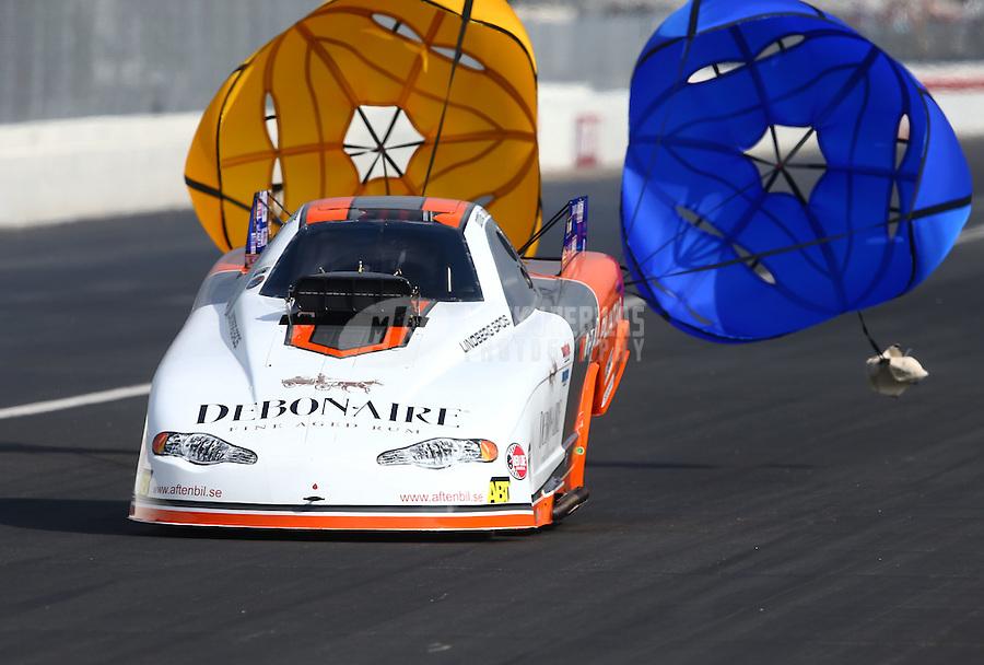 Feb 8, 2014; Pomona, CA, USA; NHRA top alcohol funny car driver Jonnie Lindberg during qualifying for the Winternationals at Auto Club Raceway at Pomona. Mandatory Credit: Mark J. Rebilas-
