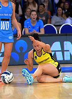 Whitney Souness goes down after a collision during the ANZ Premiership netball match between the Central Pulse and Northern Stars at Te Rauparaha Arena in Wellington, New Zealand on Wednesday, 24 May 2017. Photo: Dave Lintott / lintottphoto.co.nz