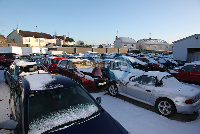 as the bad weather condtions affect travel, One Garage in Drogheda, N.Smith and Sons Accident and emergency centre, has seen there compound fill to bursting point and have told customers that they can not take any more crashed card in as there full. .Picture Fran Caffrey/Newsfile.ie