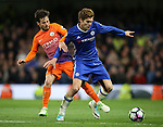 Chelsea's Marcos Alonso tussles with Manchester City's David Silva during the Premier League match at the Stamford Bridge Stadium, London. Picture date: April 5th, 2017. Pic credit should read: David Klein/Sportimage