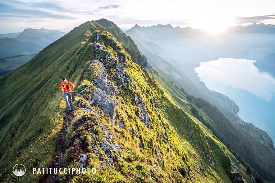 Trail running on the famous Hardergrat, aka Brienzergrat, a long ridgeline above the Brienzersee connecting Interlaken with Brienz, Switzerland