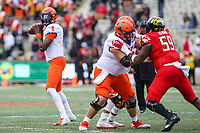 College Park, MD - October 27, 2018: Illinois Fighting Illini quarterback M.J. Rivers II (8) attempts to throw a pass during the game between Illinois and Maryland at  Capital One Field at Maryland Stadium in College Park, MD.  (Photo by Elliott Brown/Media Images International)