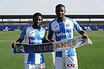 CD Leganes' new players Roger Assale (l) and Ibrahim Amadou during their official presentation. February 3, 2020. (ALTERPHOTOS/Acero)