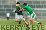 Paul Murphy Kerry in action against Iain Corbett Limerick in the Final of the McGrath Cup at the Gaelic Grounds on Sunday.