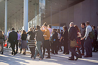Employees of the Whitney Museum of American Art in New York return to work after a group photograph on Friday, April 17, 2015. The trendy neighborhood is about to get even more trendy when the museum opens on May 1. The Whitney is hosting a block party on May 2 to welcome the public. (© Richard B. Levine)