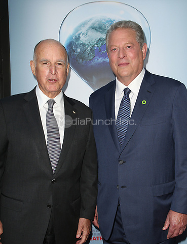 "HOLLYWOOD, CA - JULY 25: Governor Jerry Brown, Al Gore, At Screening Of Paramount Pictures' ""An Inconvenient Sequel: Truth To Power"" At ArcLight Hollywood In California on July 25, 2017. Credit: FS/MediaPunch"