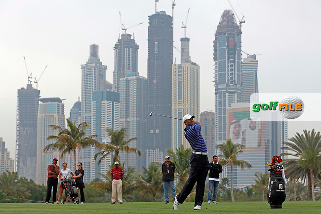 Tiger Woods (USA) in action during the pro-am for the Omega Dubai Desert Classic played at Emirates Golf Club, Dubai, UAE on 9th February 2011. Picture: Phil Inglis / golffile.ie.