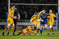 8th November 2019; AJ Bell Stadium, Salford, Lancashire, England; English Premiership Rugby, Sale Sharks versus Coventry Wasps; Luke James of Sale Sharks chases the ball - Editorial Use