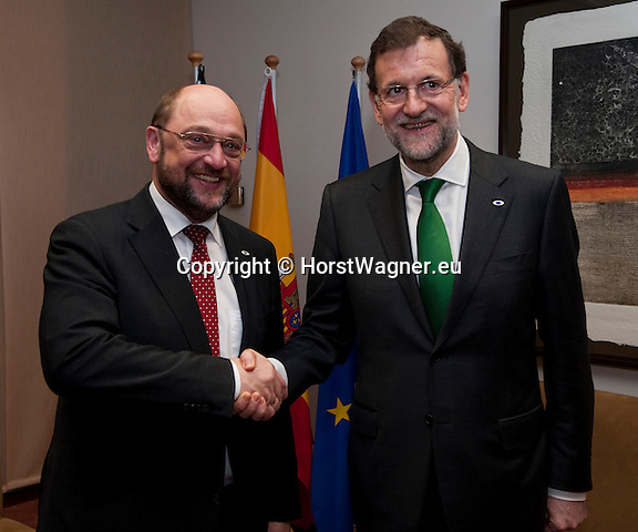 Brussels-Belgium - February 07, 2013 -- European Council, EU-summit meeting of Heads of State / Government; here, Martin SCHULZ (le), President of the European Parliament, with Mariano RAJOY BREY (ri), Prime Minister of Spain, during a bilateral meeting -- Photo: © HorstWagner.eu