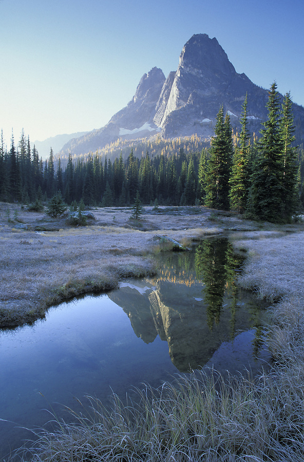 Liberty Bell Mountain and creek through meadow, Washington Pass Overlook, North Cascades, Washington