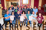 Launching the  Movember moustache growing fundraiser in aid of the Kerry-Cork Health Link bus at Hughes bar Cordal on Thursday night were front row l-r: Tadhg O'Connor, Catriona O'Connell, Timmy O'Donoghue, Siobhain mcCrohan, Sean hughes, Eoghan Brennan, Jerry Mannix. Back row: Tom Wrenn, Brian O'Shea, Denny O'sullivan, John Brosnan, Eddie Mannix, Jack O'Connell, John Flaherty, Brendan Butler, John O'Mahony, Timmy Myers, Dermot Hanly and Joe O'Connor