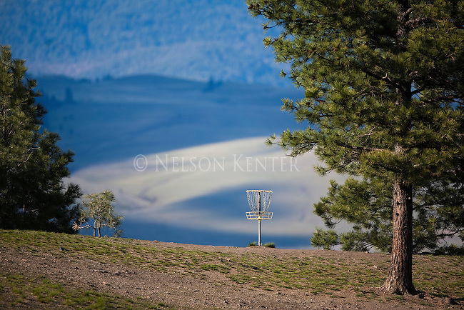 Folf course basket on the Blue Mountain course in Missoula, Montana