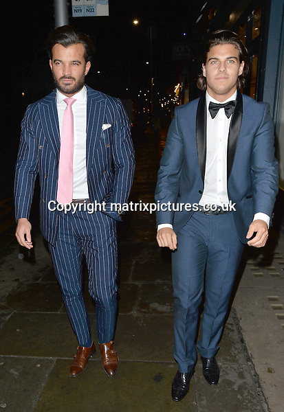 NON EXCLUSIVE PICTURE: MATRIXPICTURES.CO.UK<br /> PLEASE CREDIT ALL USES<br /> <br /> WORLD RIGHTS <br /> <br /> TOWIE stars Michael Hassini and Jon Clark are spotted during a night out at Raffles Chelsea, in London. <br />  <br /> MARCH 8th 2016<br /> <br /> REF: LTN 16647