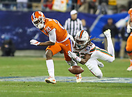 Charlotte, NC - December 2, 2017: Miami Hurricanes defensive back Sheldrick Redwine (22) causes Clemson Tigers wide receiver Ray-Ray McCloud (21) during the ACC championship game between Miami and Clemson at Bank of America Stadium in Charlotte, NC.  (Photo by Elliott Brown/Media Images International) Clemson defeated Miami 38-3 for their third consecutive championship title.