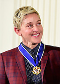 Comedian Ellen DeGeneres after receiving the Presidential Medal of Freedom from United States President Barack Obama during a ceremony in the East Room of the White House in Washington, DC on Tuesday, November 22, 2016.  The Presidential Medal of Freedom is the Nation's highest civilian honor.<br /> Credit: Ron Sachs / CNP