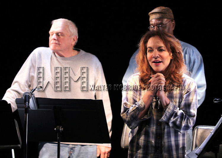 Brian Dennehy & Delroy Lindo & Stockard Channing during the Curtain Call for the 10th Anniversary Production of 'The Exonerated' at the Culture Project in New York City on 9/19/2012.