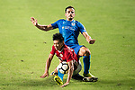 SC Kitchee Defender Helio de Souza (R) fights for the ball with Ka Hang Leong of Pegasus (L) during the week three Premier League match between Hong Kong Pegasus and Kitchee at Hong Kong Stadium on September 17, 2017 in Hong Kong, China. Photo by Marcio Rodrigo Machado / Power Sport Images