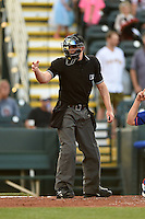Umpire Ben Levin makes a call during a game between the St. Lucie Mets and Bradenton Marauders on April 11, 2015 at McKechnie Field in Bradenton, Florida.  St. Lucie defeated Bradenton 3-2.  (Mike Janes/Four Seam Images)