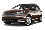 Stock pictures of low aggressive front three quarter view of 2015 Ford Grand C-Max Titanium 5 Door Mini Mpv Low Aggressive