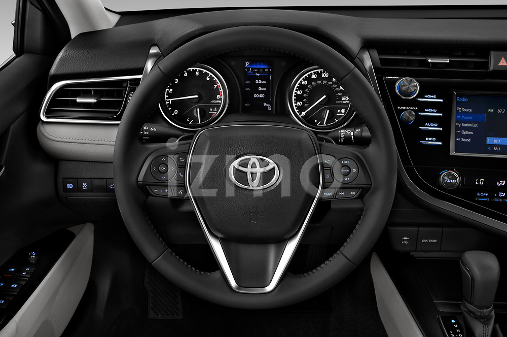 Car pictures of steering wheel view of a 2018 Toyota Camry Hybrid SE 4 Door Sedan