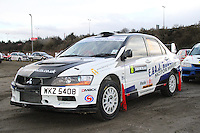 Dale Robertson - Paul McGuire in a Mitsubishi Lancer Evolution 9 at the Noise Test which took place at the Tulloch Stadium, Inverness for the 2014 Arnold Clark/Thistle Hotel Snowman Rally supported by Highland Office Equipment, part of the Capital Document Solutions which was organised by Highland Car Club and based in Inverness on 22.2.14; Round 1 of the 2014 RAC MSA Scottish Rally Championship sponsored by ARR Craib Transport Limited.