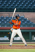 AZL Giants right fielder Jose Layer (76) at bat against the AZL Athletics on August 5, 2017 at Scottsdale Stadium in Scottsdale, Arizona. AZL Athletics defeated the AZL Giants 2-1. (Zachary Lucy/Four Seam Images)