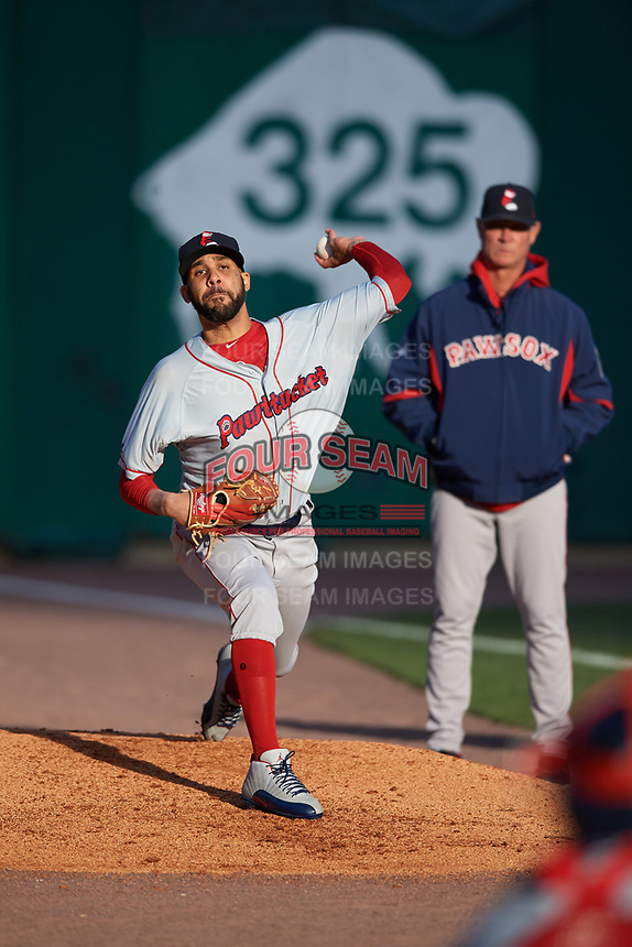 Boston Red Sox starting pitcher David Price (17) warms up in the bullpen, as pitching coach Bob Kipper watches, while on a rehab assignment with the Pawtucket Red Sox during a game against the Buffalo Bisons on May 19, 2017 at Coca-Cola Field in Buffalo, New York.  Buffalo defeated Pawtucket 7-5 in thirteen innings.  (Mike Janes/Four Seam Images)
