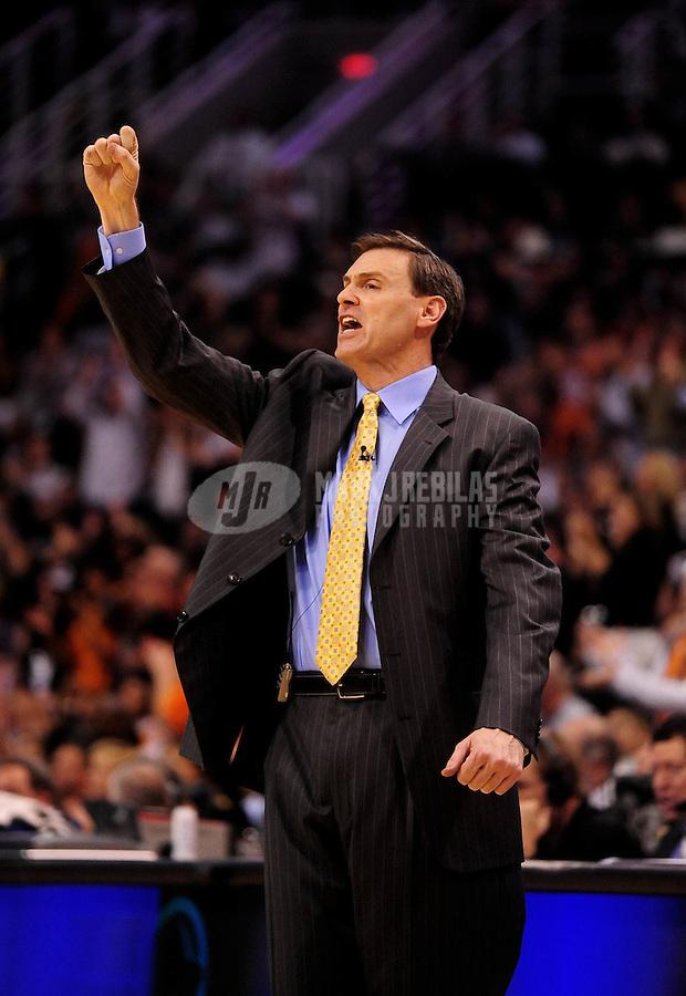 Jan. 22, 2010; Phoenix, AZ, USA; Dallas Mavericks head coach Rick Carlisle reacts in the second half against the Phoenix Suns at the US Airways Center. Phoenix defeated Dallas 112-106. Mandatory Credit: Mark J. Rebilas-
