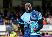 Adebayo Akinfenwa of Wycombe Wanderers frustrated during the Sky Bet League 2 match between Wycombe Wanderers and Mansfield Town at Adams Park, High Wycombe, England on the 14th April 2017. Photo by Liam McAvoy.