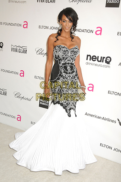 Judi Shekoni.21st Annual Elton John Academy Awards Viewing Party held at West Hollywood Park, West Hollywood, California, USA..February 24th, 2013.oscars full length white black print dress fishtail strapless pattern .CAP/ADM/BP.©Byron Purvis/AdMedia/Capital Pictures.