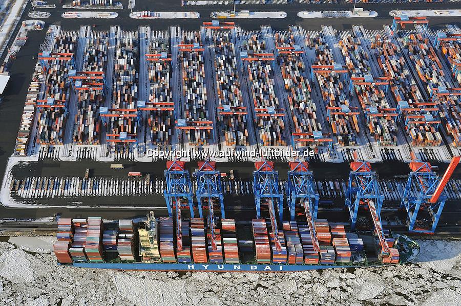 CTA:EUROPA, DEUTSCHLAND, HAMBURG 04.02.2012 CTA, Container Terminal Altenwerder, Containerschiff, Hyundai, Containerverladung, Laden, Loeschen Container,  Lager, Logistik, automatischer Betrieb, menschenleer, Container Hafen Hamburg, Luftbild, Luftansicht