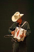 Mexican accordion player performing in the Casa de la Cultura, city of Puebla, Mexico